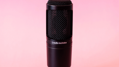Audio Technica AT20335 microphone on pink backdrop.
